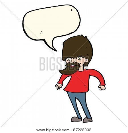 cartoon bearded man shrugging shoulders with speech bubble