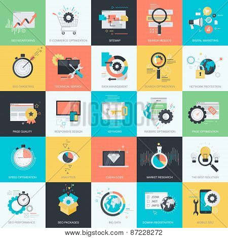 Set of flat design style concept icons for website development, marketing, e-commerce
