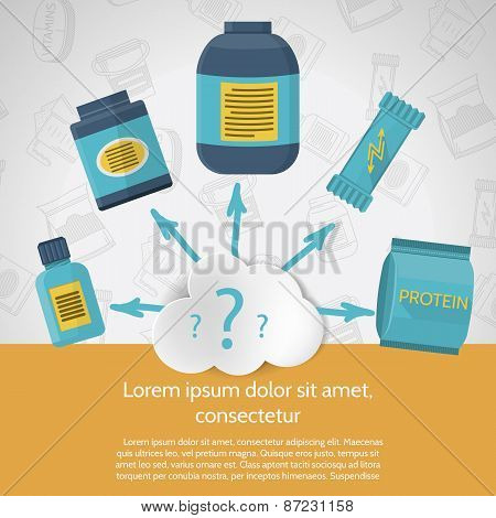 Flat color design vector illustration for sports nutrition