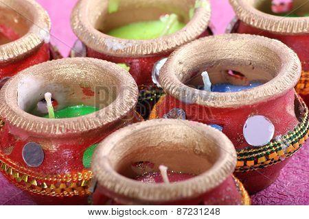 Indian Decorative Candle Pot - Retro