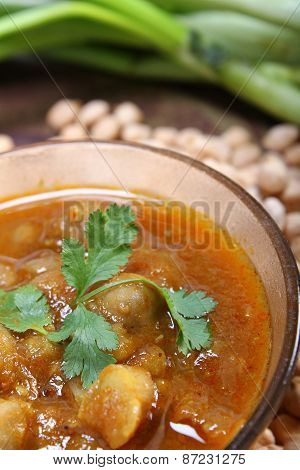 Indian Spicy Chana Masala With Raw Chickpeas