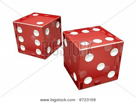 Two Red Glassed Dice