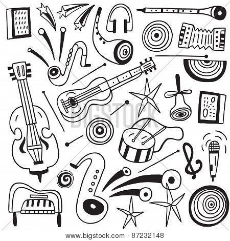 music instruments doodles