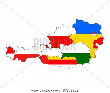 Map Of Austria With Flag Of States