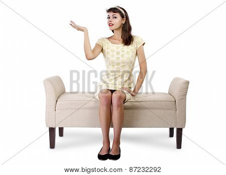 Retro Girl Sitting and Waiting on a Sofa or Chaise Lounge