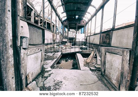 Interior Of An Abandoned Railway Wagon