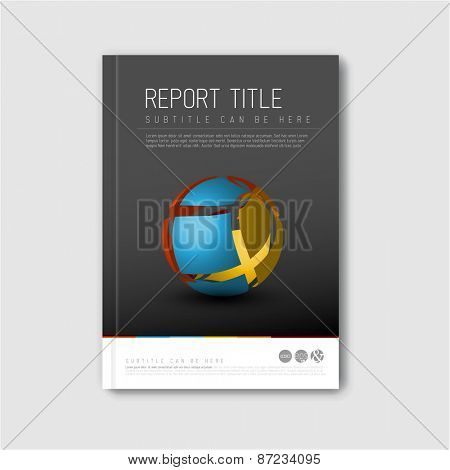 Modern Vector abstract brochure / book / flyer design template with abstract shape - dark version
