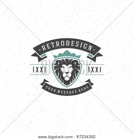 Vintage Lion face mascot emblem symbol. Can be used for T-shirts print, labels, badges, stickers, logotypes vector illustration.