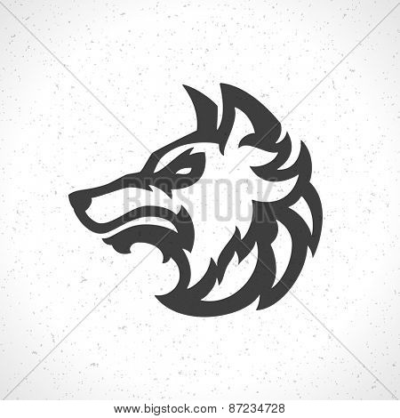 Wolf face logo emblem template mascot symbol for business or shirt design. Vector Vintage Design Element.