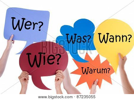 Many Colorful Speech Balloons With German Questions
