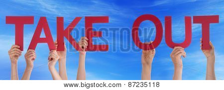 People Hands Holding Red Straight Word Take Out Blue Sky
