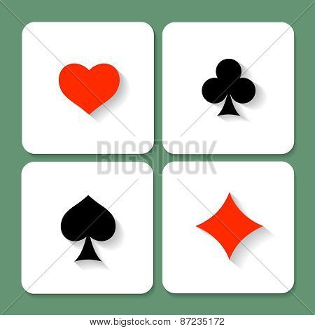 Set of  playing card symbols with shadows