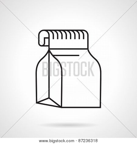 Food pack black line vector icon