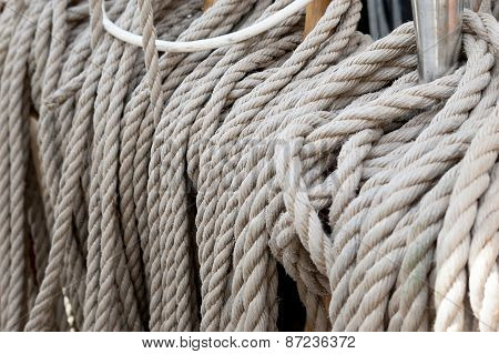 Set of sail boat ropes on horns