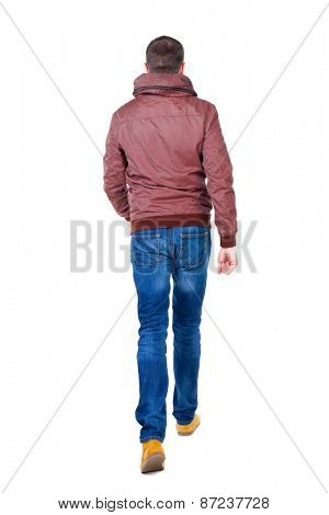 Back view of going  handsome man in jeans and jacket.  walking young guy . Rear view people collection.  backside view of person.  Isolated over white background.
