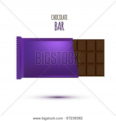 Chocolate Bar isolated on white background. Vector