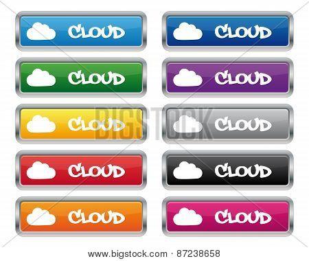 Cloud Metallic Rectangular Buttons