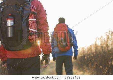Rear view of male backpackers walking in field
