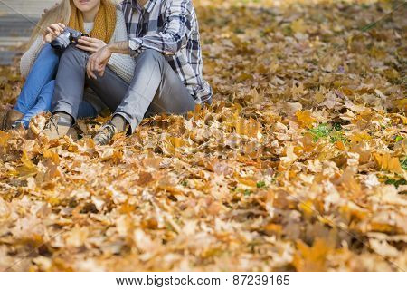 Low section of couple with camera sitting on autumn leaves in park