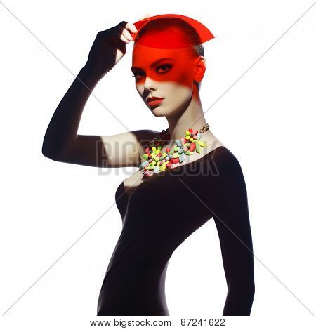 Fashion art studio photo of beautiful elegant futuristic lady
