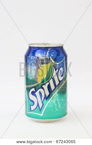 Sprite can on white background