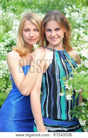 beautiful young girls in park