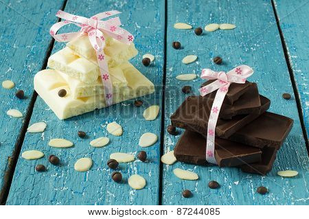 Black And White Chocolate, Almond Petals And Chocolate Drops