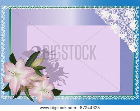 illustration with lily flowers in white decorated frame