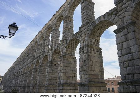 Medieval, Roman aqueduct of segovia. architectural monument declared patrimony of humanity and international interest by UNESCO. Spain