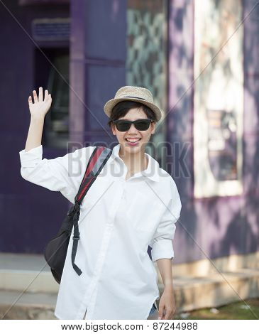 Portrait Of Young Woman Wearing Sun Glasses And Straw Hat Relaxing Emotion With Hipster Looking And