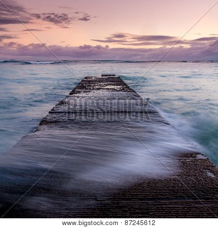 breakwater on famous Waikiki beach