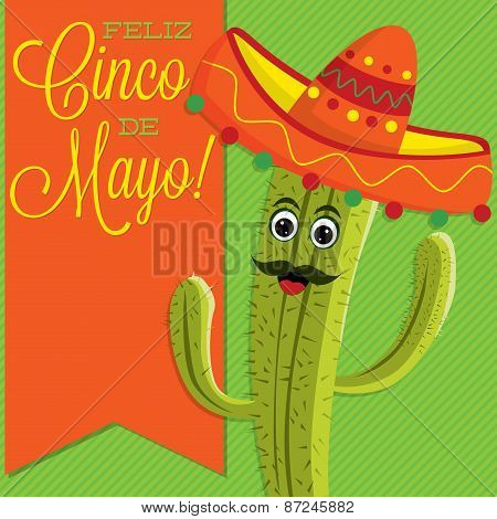 Cactus Character Sash Card In Vector Format.