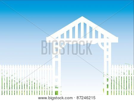 White Fence Blue Background