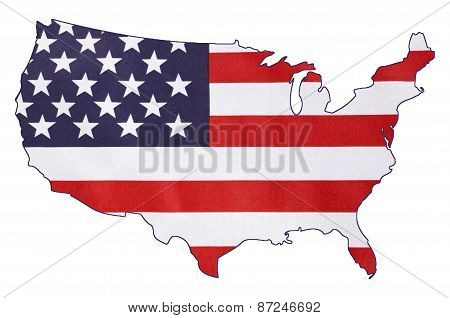 Usa Stars And Stripes Flag Within Outline Of Usa Map.