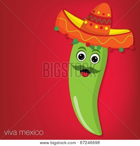 Chilli Pepper Cartoon Character Card In Vector Format.