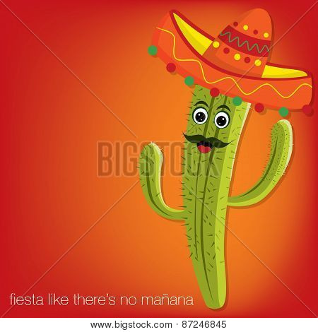 Cactus Character Card In Vector Format.