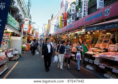 JAPAN, JUNE 29:A busy street market selling fish and seafood products in late evening, Kyoto June 29, 2012, Japan.