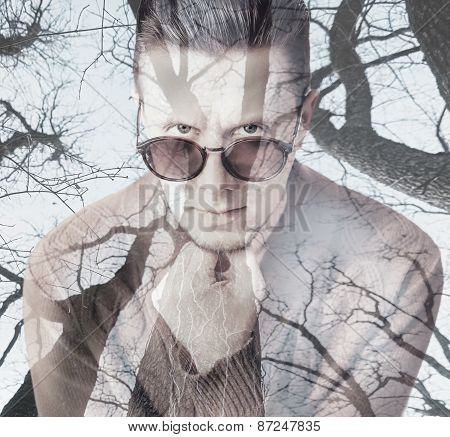 Double Exposure Portrait Of Man With Trees