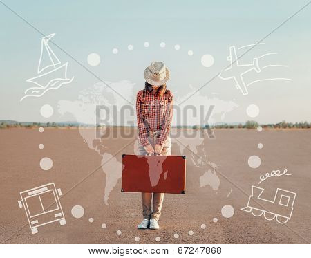 Tourist Girl Standing With Suitcase On Road