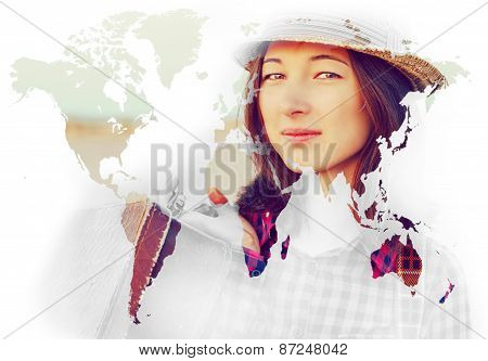 Double Exposure Portrait Of Woman With Map