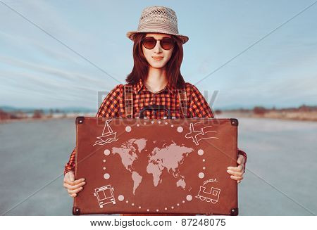 Traveler Young Woman Holding Suitcase