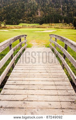 Wooden Bridge To Golf Course