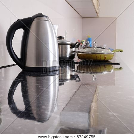 Interior of a modern kitchen. Close-up electric kettle