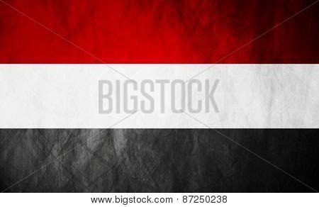 Republic of Yemen grunge flag. Vector background