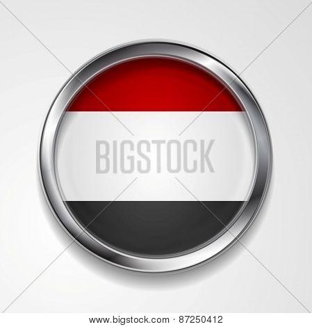 Republic of Yemen metal button flag. Vector design