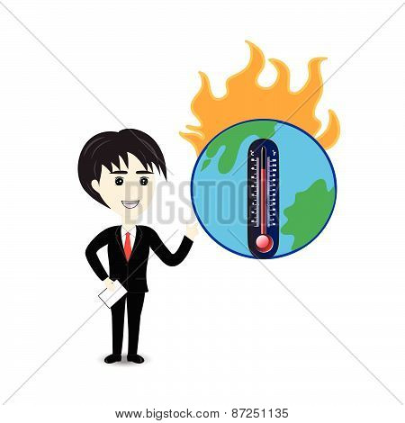 Business man describe about global warming