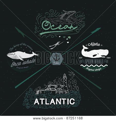 Set of vintage nautical emblems, logos, design elements