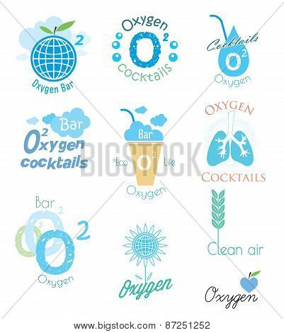 Vector set oxygen and oxygen cocktail