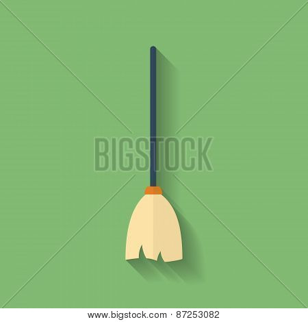 Icon Of Mop Or Broom. Flat Style