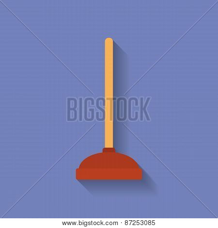 Icon Of Toilet Plunger. Flat Style